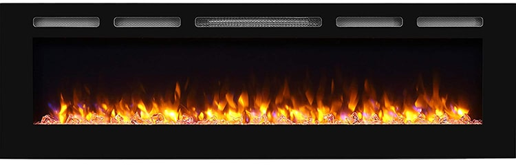 PuraFlame Alice 68-Inch Recessed Fireplace
