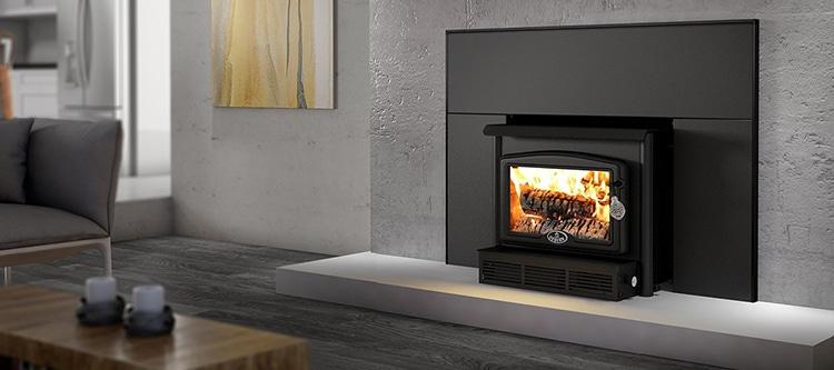 Osburn 1600 Wood Insert Black Cast Iron Door Overlay, Medium Faceplate Black Trim Kit (32 X 44)