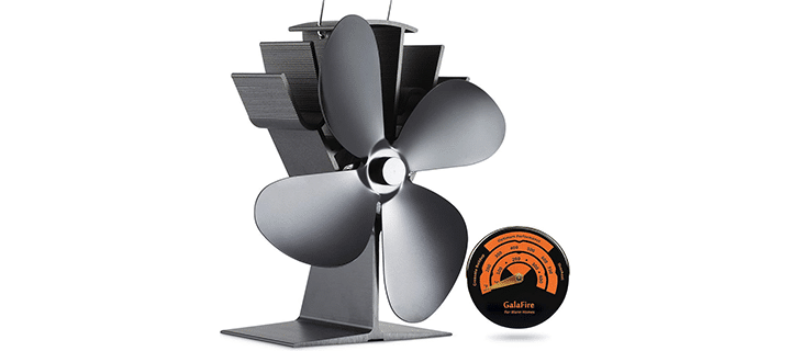 Galafire 122F Start Silent Heat Powered Wood Stove Fan