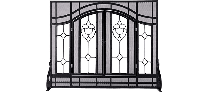 Large Beveled Glass Diamond Fireplace Screen