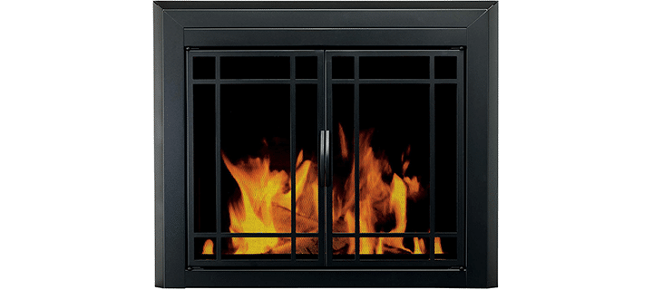 Pleasant Hearth EA-5011 Easton Black Firescreen Medium Fireplace Glass Door