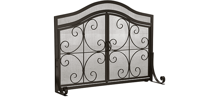Plow & Hearth Small Steel Crest Fireplace Screen with Doors