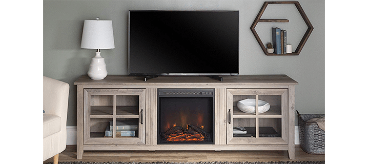 Walker Edison Farmhouse Style Fireplace TV Stand