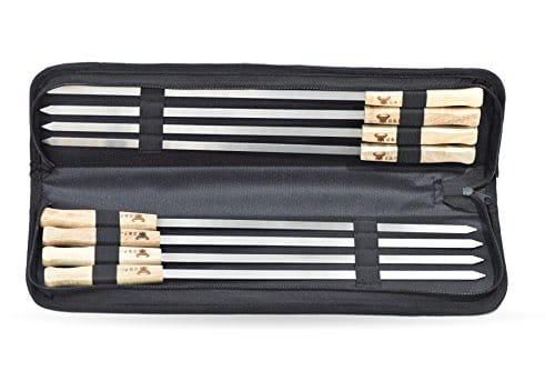 17 Inch Long Large Stainless Steel Brazilian Style BBQ Skewers with hard wood Handle Kebab Kabob Skewers 38 Inch Wide Blade Set of 8 Skewer with heavy duty Travel Bag 0 4