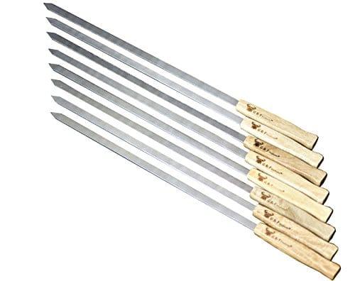 17 Inch Long Large Stainless Steel Brazilian Style BBQ Skewers with hard wood Handle Kebab Kabob Skewers 38 Inch Wide Blade Set of 8 Skewer with heavy duty Travel Bag 0