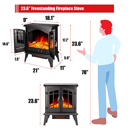 23 Electric Fireplace Heater1500W Freestanding Stove Portable Fireplace Heater with Realistic Log Frame Black 0 2
