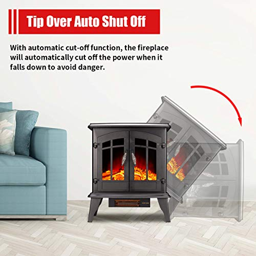 23 Electric Fireplace Heater1500W Freestanding Stove Portable Fireplace Heater with Realistic Log Frame Black 0 3