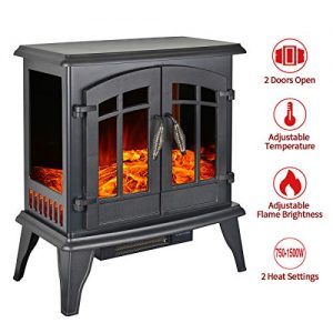 23 Electric Fireplace Heater1500W Freestanding Stove Portable Fireplace Heater with Realistic Log Frame Black 0