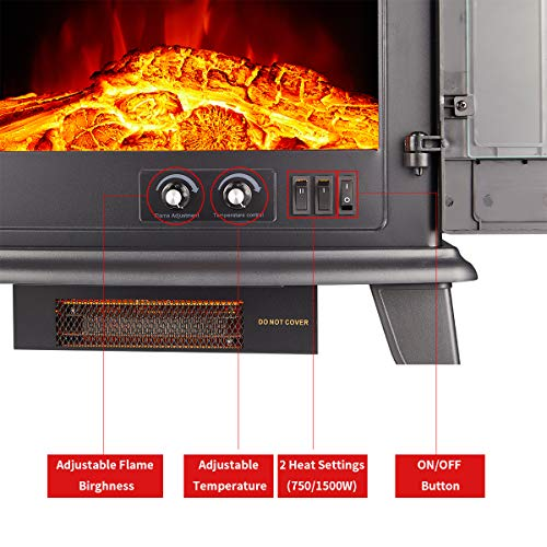 23 Electric Fireplace Heater1500W Freestanding Stove Portable Fireplace Heater with Realistic Log Frame Black 0 4