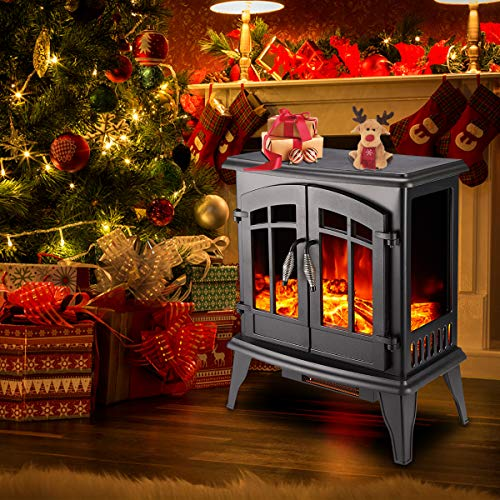 23 Electric Fireplace Heater1500W Freestanding Stove Portable Fireplace Heater with Realistic Log Frame Black 0 5