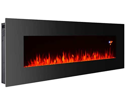 3GPlus 50 Inches Electric Fireplace Wall Mounted Heater Crystal Stone Fuel Effect 3 Changeable Flame Colors Fireplace with Remote 1500W Black 0 0