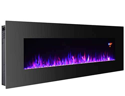 3GPlus 50 Inches Electric Fireplace Wall Mounted Heater Crystal Stone Fuel Effect 3 Changeable Flame Colors Fireplace with Remote 1500W Black 0 1