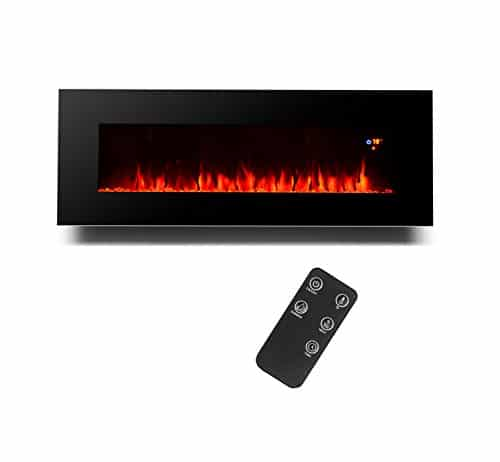 3GPlus 50 Inches Electric Fireplace Wall Mounted Heater Crystal Stone Fuel Effect 3 Changeable Flame Colors Fireplace with Remote 1500W Black 0 2