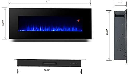 3GPlus 50 Inches Electric Fireplace Wall Mounted Heater Crystal Stone Fuel Effect 3 Changeable Flame Colors Fireplace with Remote 1500W Black 0 3