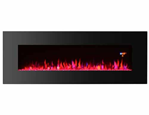 3GPlus 50 Inches Electric Fireplace Wall Mounted Heater Crystal Stone Fuel Effect 3 Changeable Flame Colors Fireplace with Remote 1500W Black 0 4