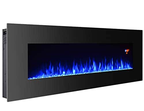 3GPlus 50 Inches Electric Fireplace Wall Mounted Heater Crystal Stone Fuel Effect 3 Changeable Flame Colors Fireplace with Remote 1500W Black 0