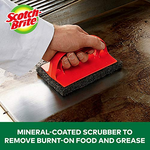3M 7721 Scotch Brite Heavy Duty Outdoor Scrubber Ideal for Concrete Patio Bricks BBQ Tools and Charcoal and Gas Grills Black 0 2