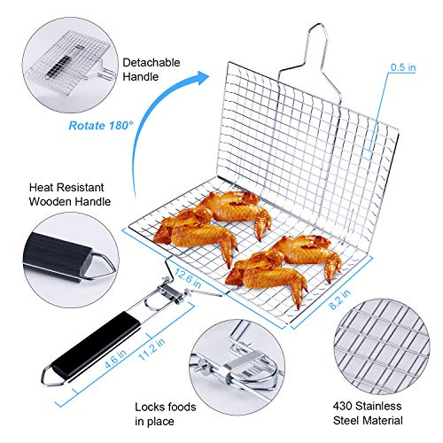 ACMETOP BBQ Grill Basket Stainless Steel Grilling Basket with Removable Handle Perfect for Grilling Vegetables Fishes Shrimp Chops Bonus an Grill Mat Sauce Bottle Brush and Carrying Pouch 0 0
