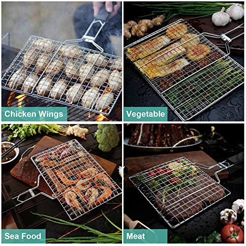 ACMETOP BBQ Grill Basket Stainless Steel Grilling Basket with Removable Handle Perfect for Grilling Vegetables Fishes Shrimp Chops Bonus an Grill Mat Sauce Bottle Brush and Carrying Pouch 0 2