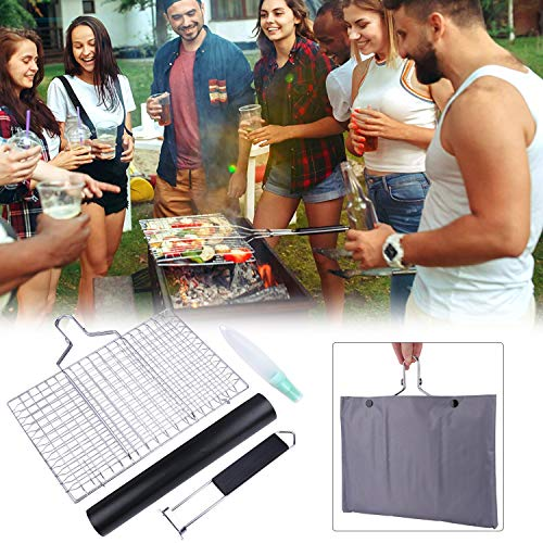 ACMETOP BBQ Grill Basket Stainless Steel Grilling Basket with Removable Handle Perfect for Grilling Vegetables Fishes Shrimp Chops Bonus an Grill Mat Sauce Bottle Brush and Carrying Pouch 0 4