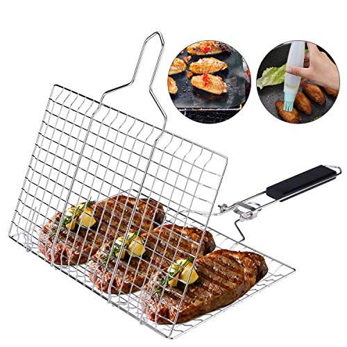 ACMETOP BBQ Grill Basket Stainless Steel Grilling Basket with Removable Handle Perfect for Grilling Vegetables Fishes Shrimp Chops Bonus an Grill Mat Sauce Bottle Brush and Carrying Pouch 0
