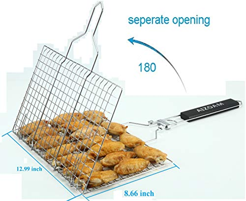 AIZOAM Portable Stainless Steel BBQ Barbecue Grilling Basket for FishVegetables SteakShrimp Chops and Many Other Food Great and Useful BBQ Tool Bonus an Additional Sauce Brush 0 0