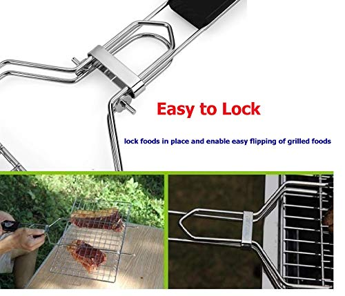 AIZOAM Portable Stainless Steel BBQ Barbecue Grilling Basket for FishVegetables SteakShrimp Chops and Many Other Food Great and Useful BBQ Tool Bonus an Additional Sauce Brush 0 1