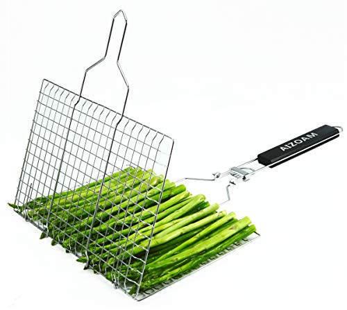 AIZOAM Portable Stainless Steel BBQ Barbecue Grilling Basket for FishVegetables SteakShrimp Chops and Many Other Food Great and Useful BBQ Tool Bonus an Additional Sauce Brush 0 2
