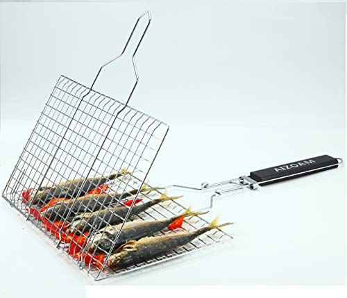 AIZOAM Portable Stainless Steel BBQ Barbecue Grilling Basket for FishVegetables SteakShrimp Chops and Many Other Food Great and Useful BBQ Tool Bonus an Additional Sauce Brush 0 3