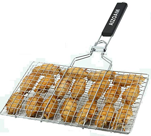 AIZOAM Portable Stainless Steel BBQ Barbecue Grilling Basket for FishVegetables SteakShrimp Chops and Many Other Food Great and Useful BBQ Tool Bonus an Additional Sauce Brush 0