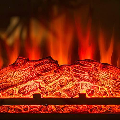 AKDY 27 Electric Fireplace Freestanding Brown Wooden Mantel Firebox 3D Flame wLogs Heater 0 0