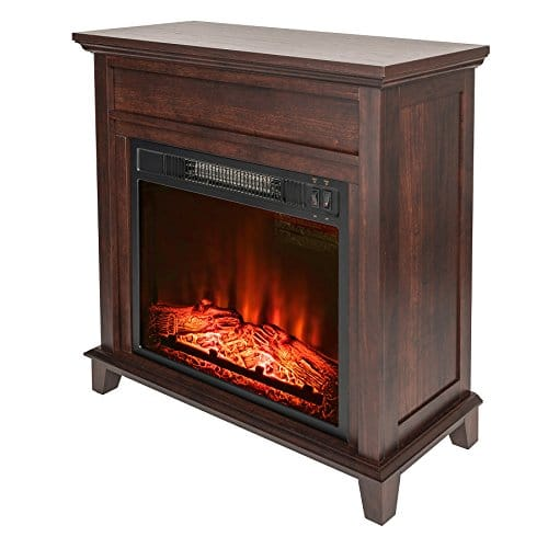 AKDY 27 Electric Fireplace Freestanding Brown Wooden Mantel Firebox 3D Flame wLogs Heater 0 1