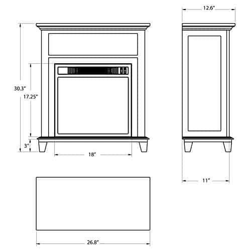AKDY 27 Electric Fireplace Freestanding Brown Wooden Mantel Firebox 3D Flame wLogs Heater 0 5