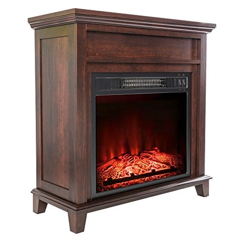 AKDY 27 Electric Fireplace Freestanding Brown Wooden Mantel Firebox 3D Flame wLogs Heater 0
