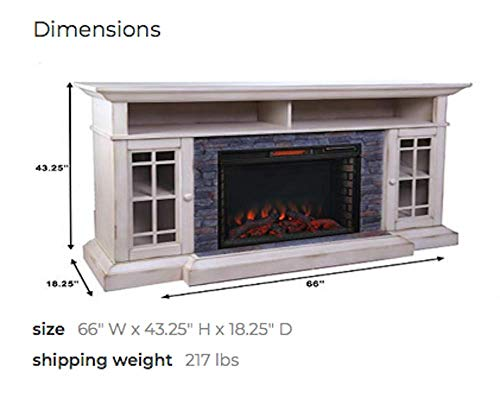 ALLENHOME Bennett Infrared Electric Fireplace TV Stand Farmhouse Ivory ASMM 017 2866 S404 T 0 0
