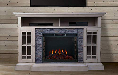 ALLENHOME Bennett Infrared Electric Fireplace TV Stand Farmhouse Ivory ASMM 017 2866 S404 T 0
