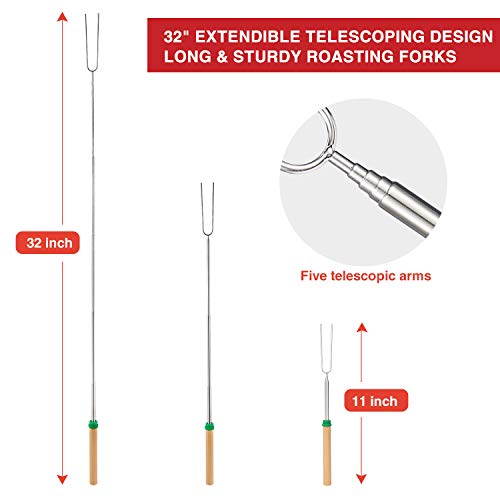 Adoric Marshmallow Roasting Sticks Roasting Sticks with Wooden Handle 32 Inch Extendable BBQ Forks Telescoping Smores Sticks for Fire Pit Campfire Set of 8 0 0