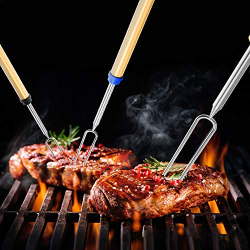 Adoric Marshmallow Roasting Sticks Roasting Sticks with Wooden Handle 32 Inch Extendable BBQ Forks Telescoping Smores Sticks for Fire Pit Campfire Set of 8 0 2