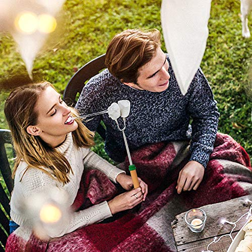 Adoric Marshmallow Roasting Sticks Roasting Sticks with Wooden Handle 32 Inch Extendable BBQ Forks Telescoping Smores Sticks for Fire Pit Campfire Set of 8 0 5