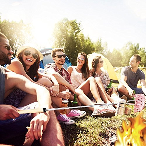 Ajmyonsp Marshmallow Roasting Sticks with Wooden Handle Extendable Forks Set of 5Pcs Telescoping Smores Skewers for Campfire Firepit and Sausage BBQ 32 Inch 0 3