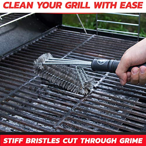 Alpha Grillers 18 Grill Brush Best BBQ Cleaner Safe for All Grills Durable Effective Stainless Steel Wire Bristles and Stiff Handle A for Barbecue Lovers 0 0