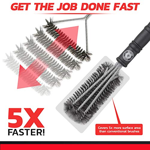 Alpha Grillers 18 Grill Brush Best BBQ Cleaner Safe for All Grills Durable Effective Stainless Steel Wire Bristles and Stiff Handle A for Barbecue Lovers 0 1