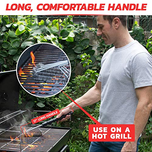 Alpha Grillers 18 Grill Brush Best BBQ Cleaner Safe for All Grills Durable Effective Stainless Steel Wire Bristles and Stiff Handle A for Barbecue Lovers 0 2
