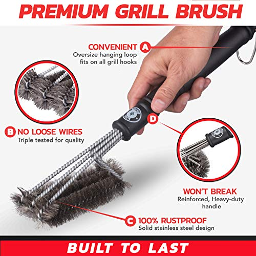 Alpha Grillers 18 Grill Brush Best BBQ Cleaner Safe for All Grills Durable Effective Stainless Steel Wire Bristles and Stiff Handle A for Barbecue Lovers 0 4