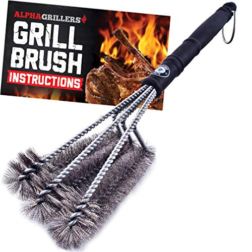 Alpha Grillers 18 Grill Brush Best BBQ Cleaner Safe for All Grills Durable Effective Stainless Steel Wire Bristles and Stiff Handle A for Barbecue Lovers 0