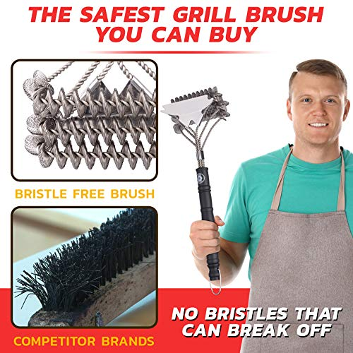 Alpha Grillers Grill Brush Bristle Free Best Safe BBQ Cleaner with Extra Wide Scraper Perfect 17 Inch Stainless Steel Tools for All Grill Types Including Weber Ideal Barbecue Accessories 0 0