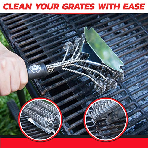 Alpha Grillers Grill Brush Bristle Free Best Safe BBQ Cleaner with Extra Wide Scraper Perfect 17 Inch Stainless Steel Tools for All Grill Types Including Weber Ideal Barbecue Accessories 0 1