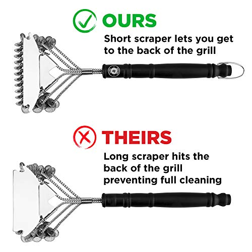 Alpha Grillers Grill Brush Bristle Free Best Safe BBQ Cleaner with Extra Wide Scraper Perfect 17 Inch Stainless Steel Tools for All Grill Types Including Weber Ideal Barbecue Accessories 0 3
