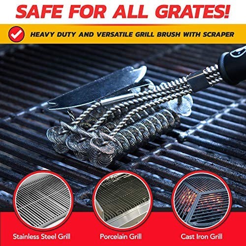 Alpha Grillers Grill Brush Bristle Free Best Safe BBQ Cleaner with Extra Wide Scraper Perfect 17 Inch Stainless Steel Tools for All Grill Types Including Weber Ideal Barbecue Accessories 0 5