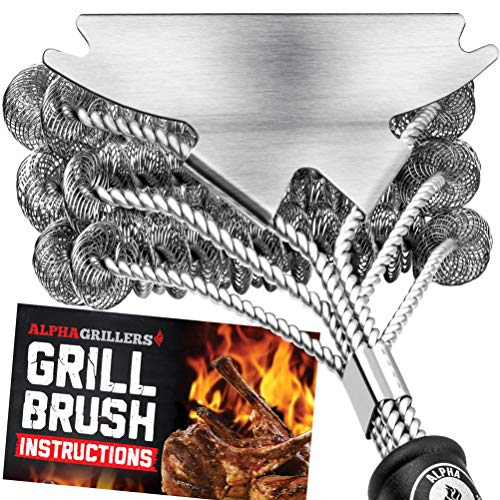 Alpha Grillers Grill Brush Bristle Free Best Safe BBQ Cleaner with Extra Wide Scraper Perfect 17 Inch Stainless Steel Tools for All Grill Types Including Weber Ideal Barbecue Accessories 0